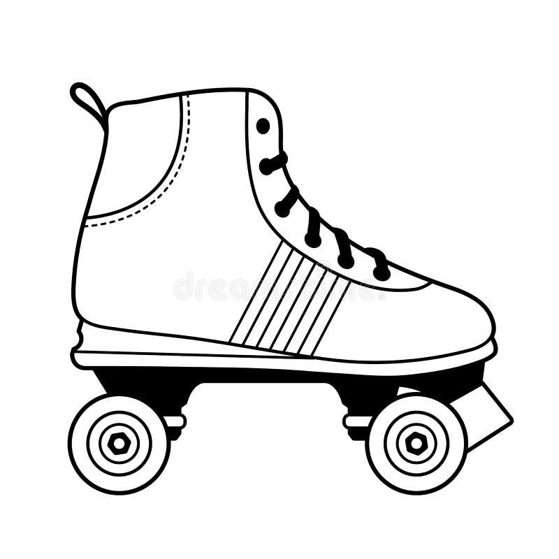 黑白滑旱冰鞋子例证 免版税库存照片
