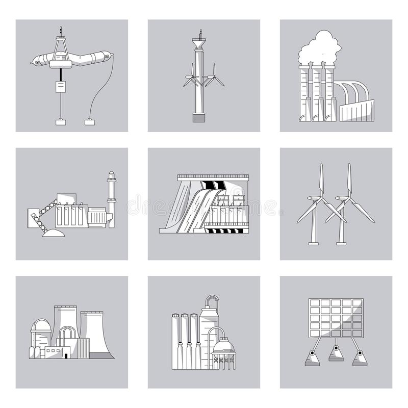 黑白照片按与可再造能源的类型的背景 库存例证