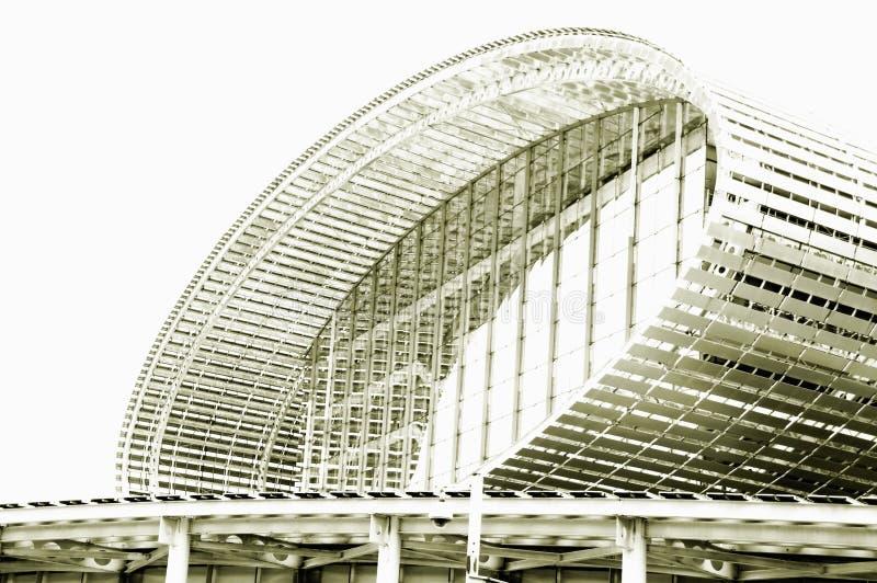 黑白照片,世界的最大的展览馆,大厦,广州琶洲国际展览中心 库存照片