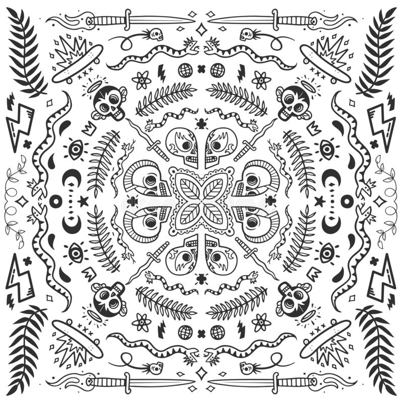 黑白班丹纳花绸、守旧派纹身花刺元素在乱画样式与蛇,头骨、冰鞋和刀子导航例证 皇族释放例证