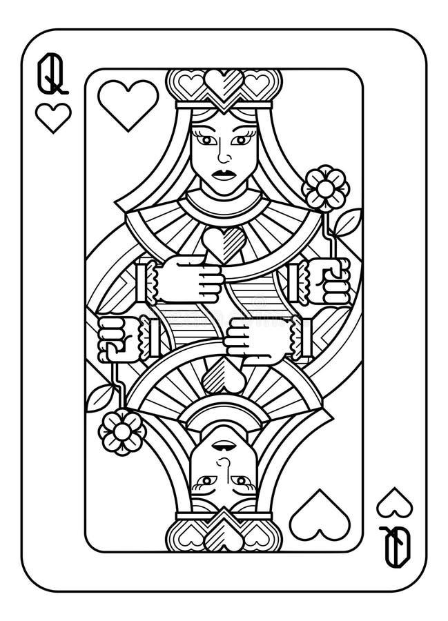黑白的心脏的纸牌女王/王后 库存例证
