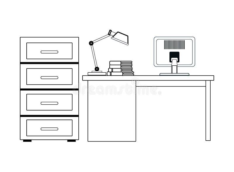 黑白的文件柜和的书桌 向量例证
