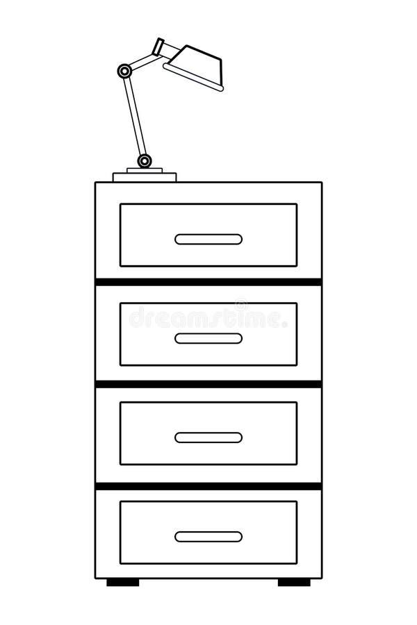 黑白的文件柜和的灯 皇族释放例证