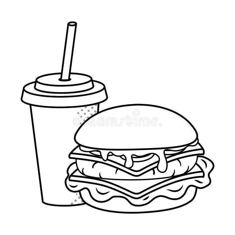 黑白的汉堡包和的苏打 库存例证
