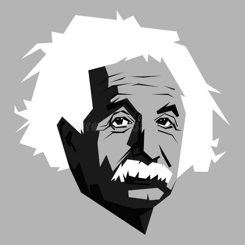 黑白的阿尔伯特・爱因斯坦 库存例证