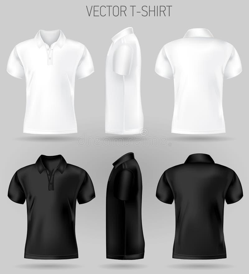 黑白短袖球衣设计模板朝向,和侧视图 皇族释放例证
