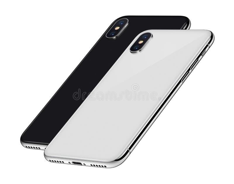 黑白等量与照相机模块一的智能手机后部在其他后 皇族释放例证