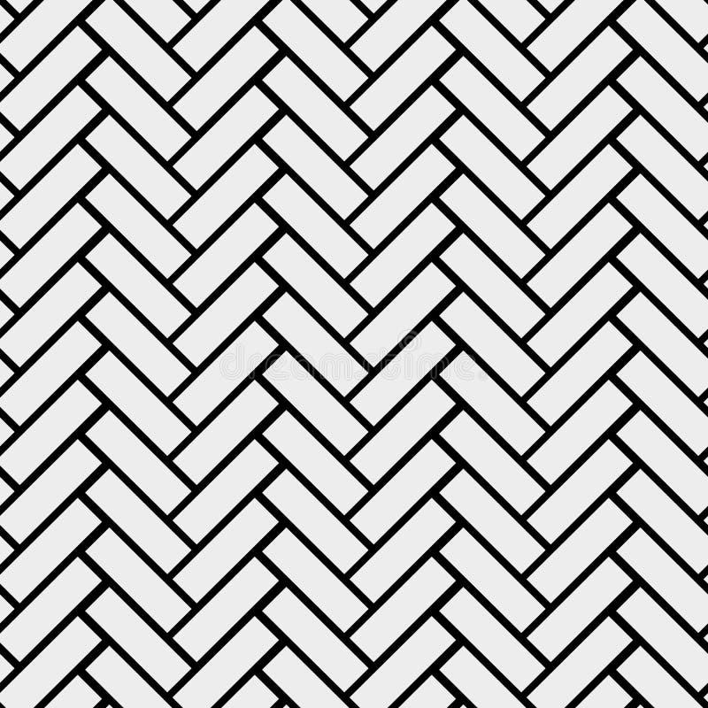 黑白简单的木地板人字形木条地板无缝的样式,传染媒介背景 皇族释放例证