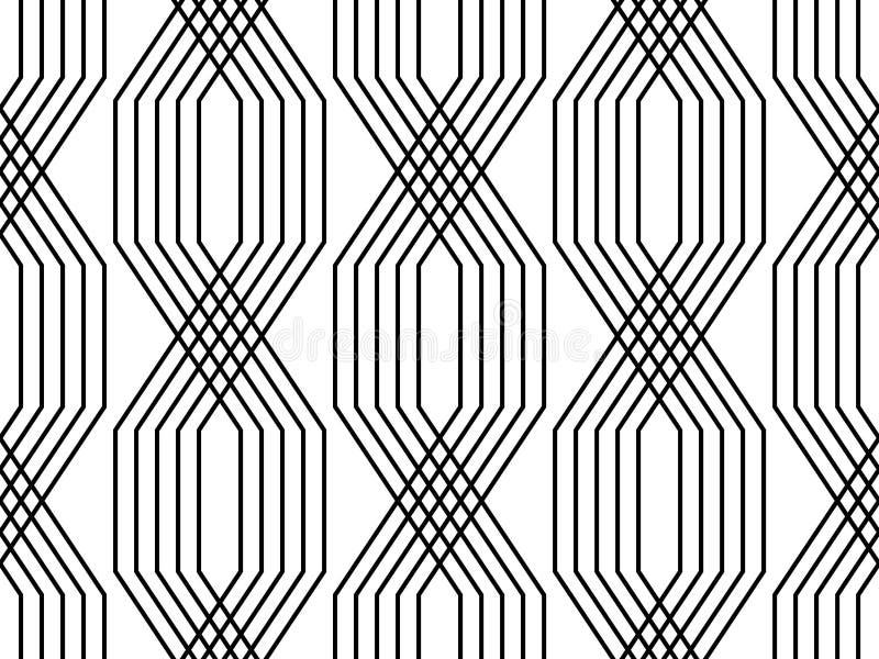 黑白线几何艺术装饰样式简单的无缝的样式,传染媒介 向量例证