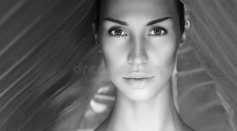 黑白美丽的性感的妇女画象 与N的妇女面孔 免版税库存照片