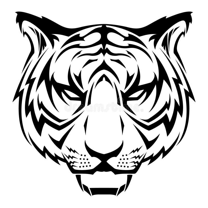 黑白老虎头部族纹身花刺传染媒介例证 库存例证