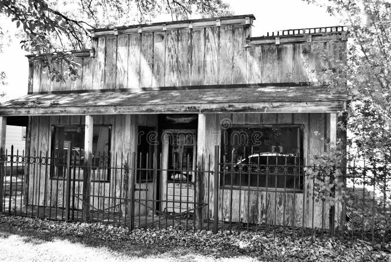 黑白老西部样式门面 库存照片