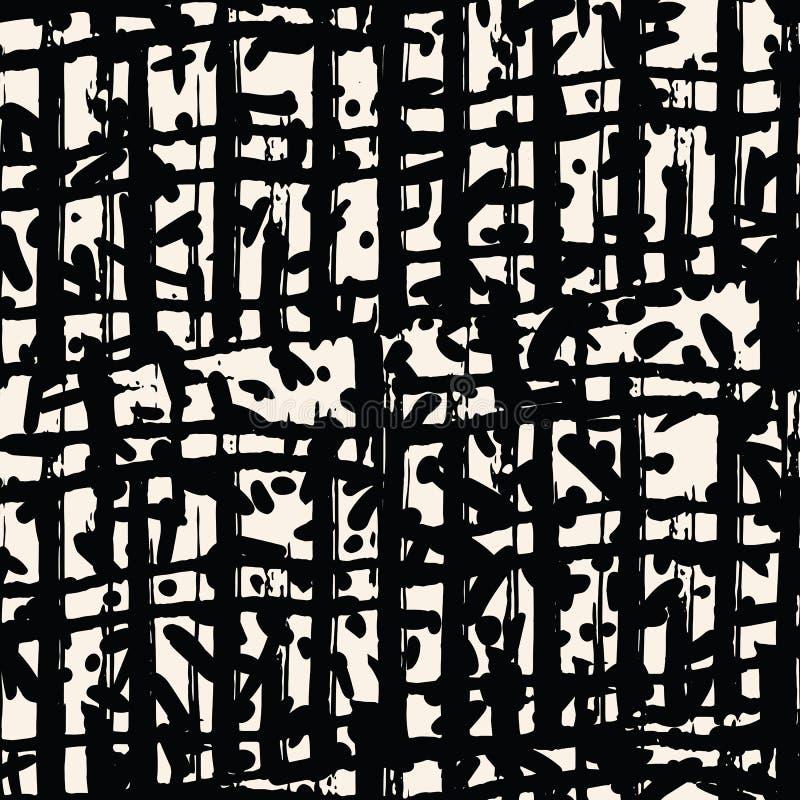 黑白色网格图形 Shibori无缝的印刷品 库存例证