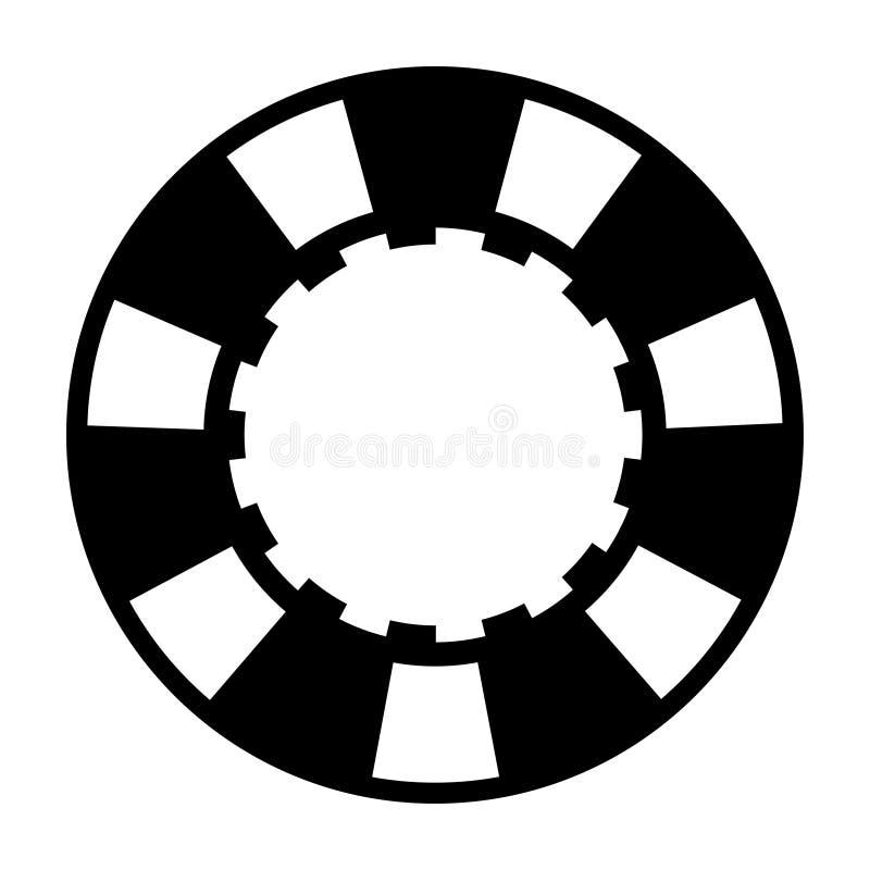黑白色赌博娱乐场纸牌筹码 皇族释放例证