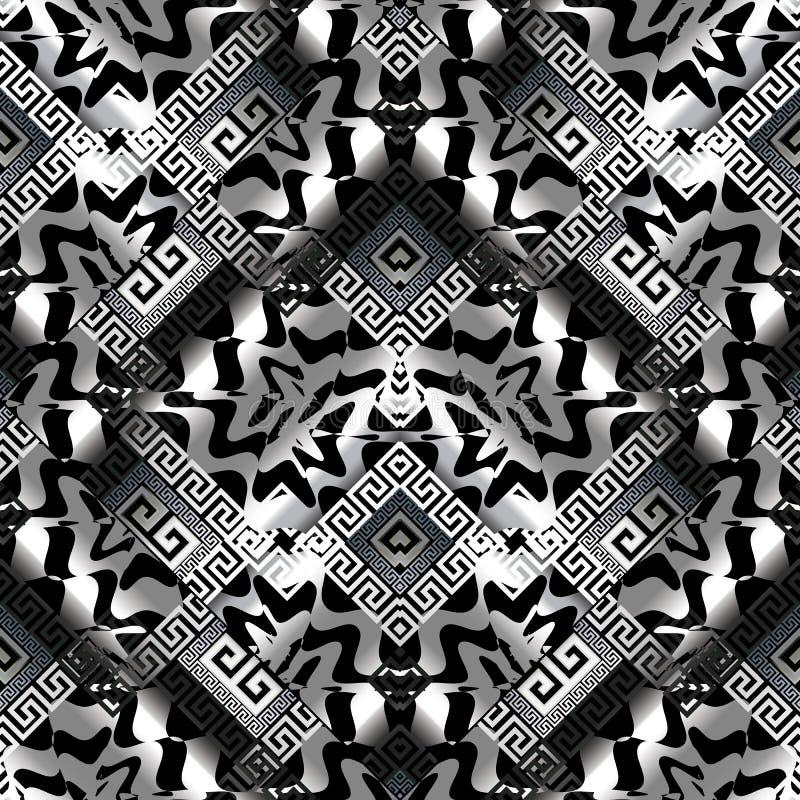黑白色3d希腊关键无缝的样式 皇族释放例证
