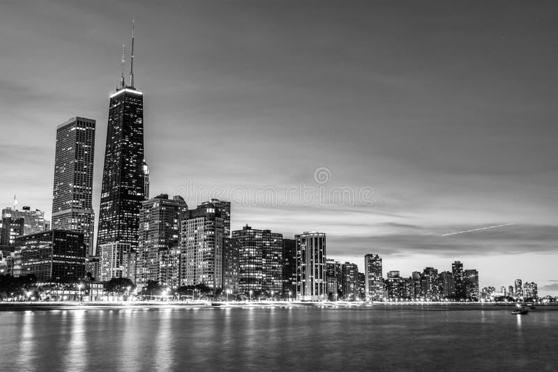 黑白芝加哥地平线 库存照片