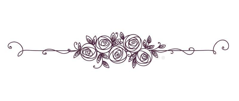 黑白花卉典雅的样式 装饰的线艺术葡萄酒元素 罗斯花概述 向量例证