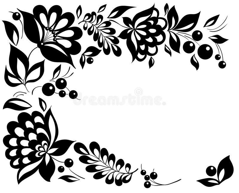 黑白花和叶子。 在减速火箭的样式的花卉设计要素 库存例证