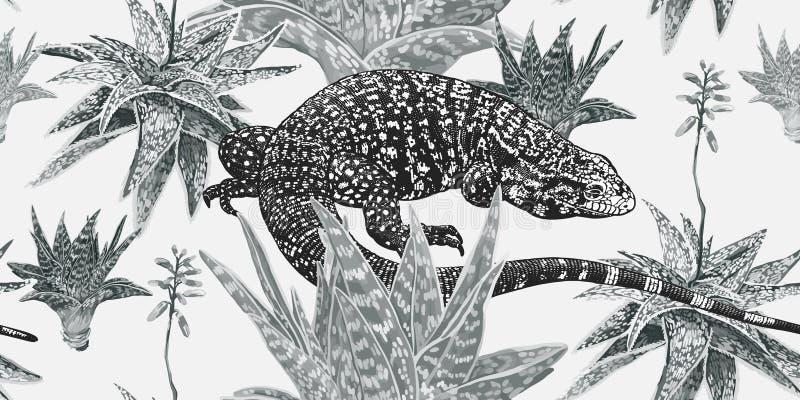 黑白葡萄酒无缝的样式 植物和蜥蜴 向量例证