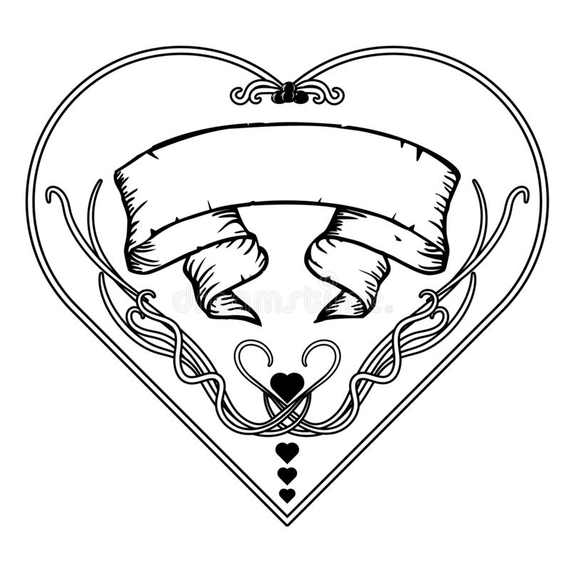 黑白葡萄酒花卉的框架 艺术Nouveau设计 也corel凹道例证向量 牡鹿形状 向量例证