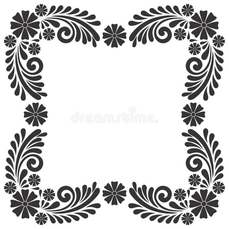 黑白葡萄酒花框架装饰品模板传染媒介 向量例证