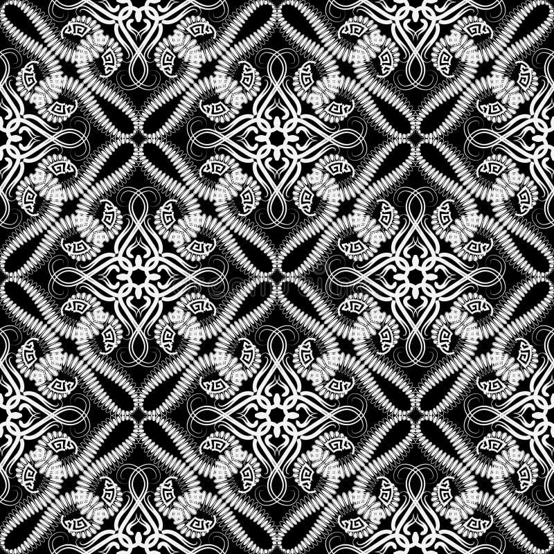 黑白蔓藤花纹无缝的样式 传染媒介装饰阿拉伯样式背景 ( 重复装饰鞋带 库存例证
