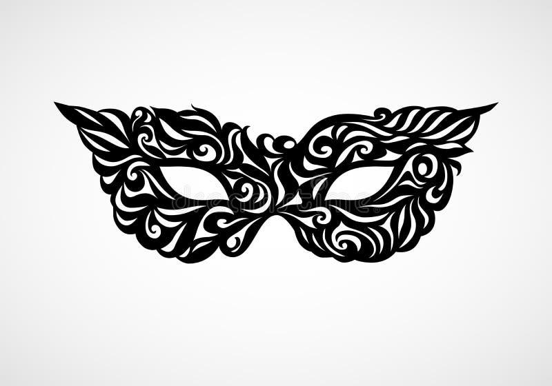 黑白被隔绝的化妆舞会面具 向量例证