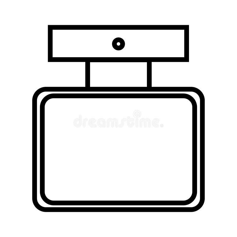 黑白象是简单的线性时兴的迷人的化妆用品,有香水的,adicolon,润肤水玻璃瓶 向量例证