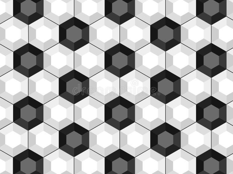 黑白足球无缝的样式 库存例证