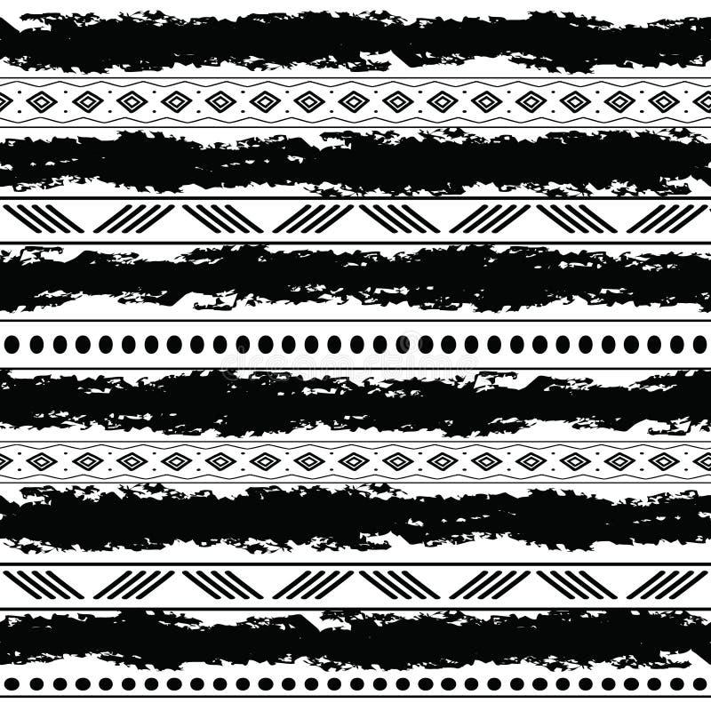 黑白部族与乱画元素的传染媒介无缝的样式 阿兹台克抽象几何艺术印刷品 种族 向量例证