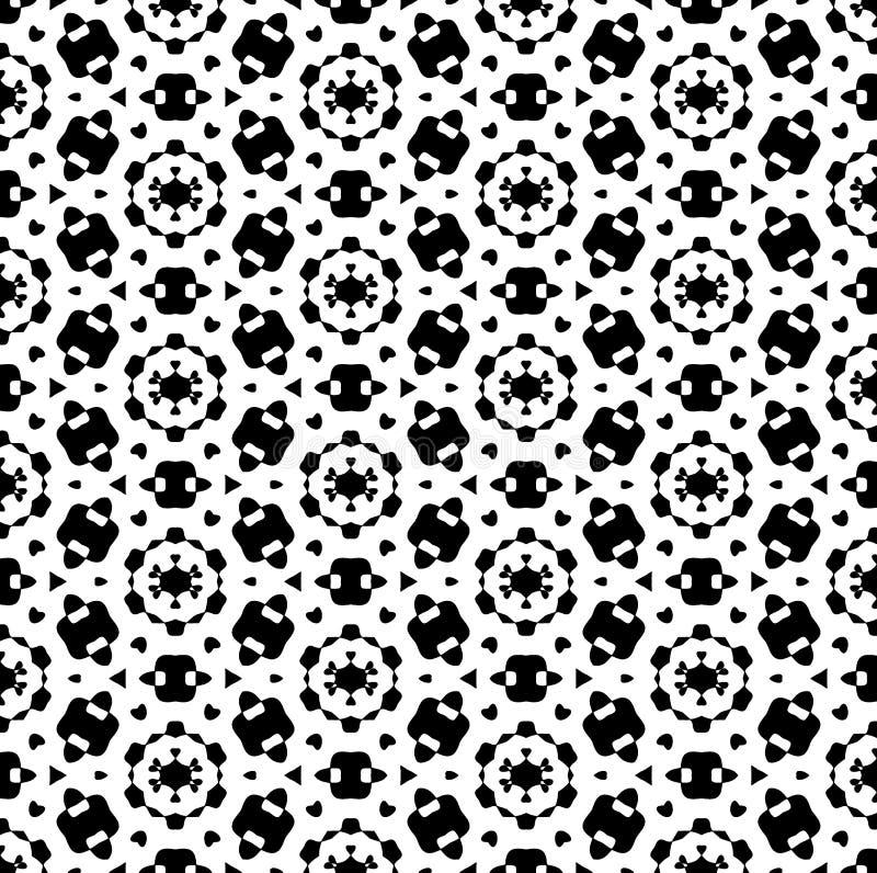 黑白重复样式传染媒介和无缝的背景图象 向量例证