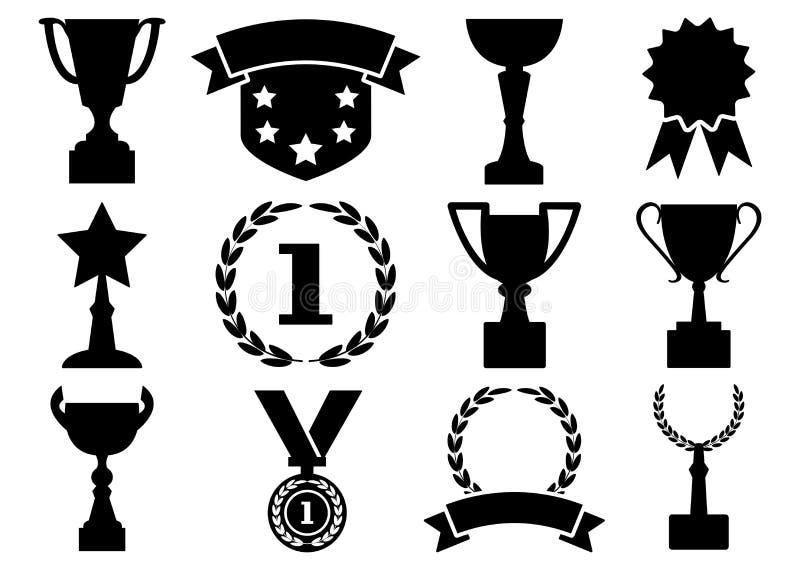 黑白集合奖和杯子,传染媒介 向量例证