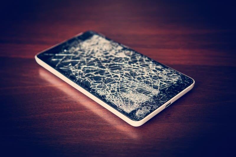 黑白顶视图破裂的玻璃的屏幕, 免版税图库摄影