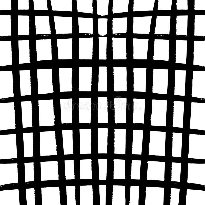 黑白风格化格子花呢披肩细胞背景 抽象几何方格花布样式 塑造简单的时髦纹理 向量例证