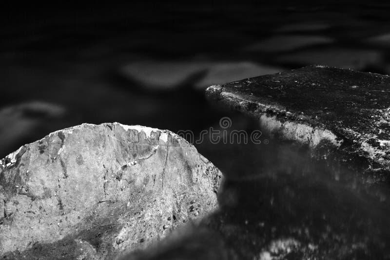 黑白,单色,抽象,背景,在与可看见的纹理的水中淹没的石头的构成 免版税库存图片