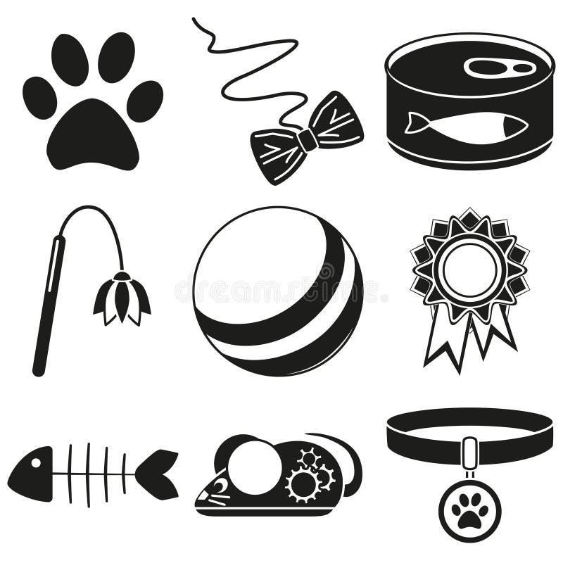 黑白9个猫关心剪影元素 库存例证