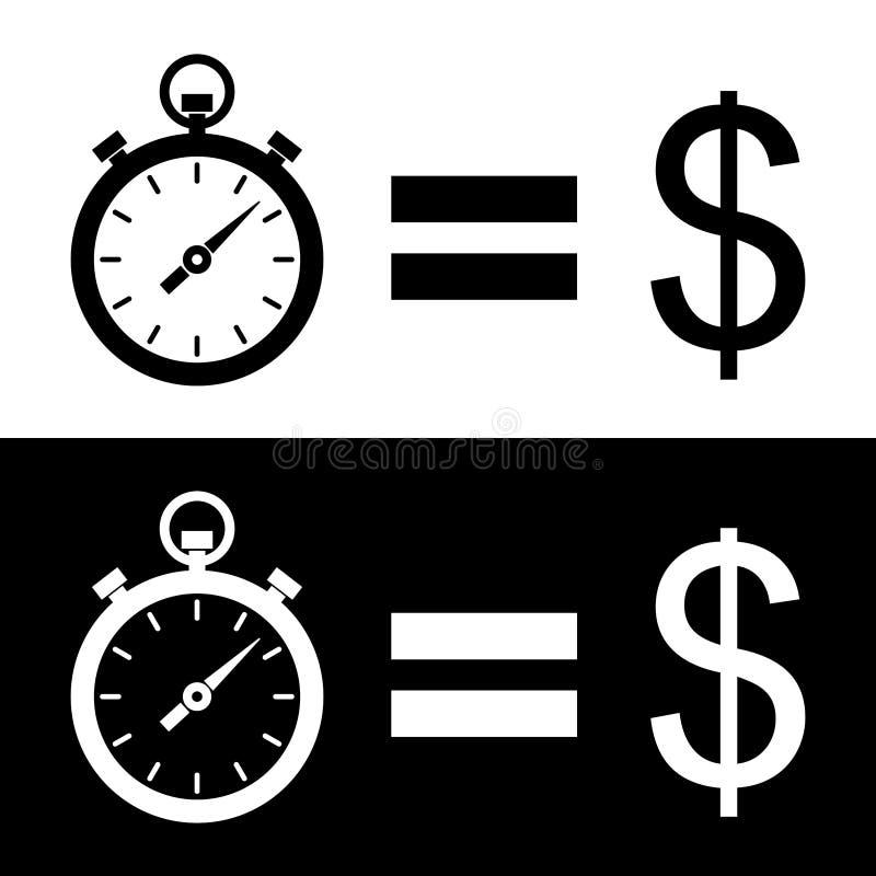 黑白`时间是金钱`图表 两变异 库存例证