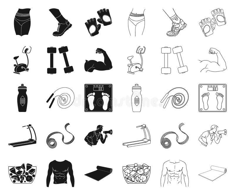 黑的健身和的属性,在集合收藏的概述象的设计 健身设备传染媒介标志股票网 库存例证