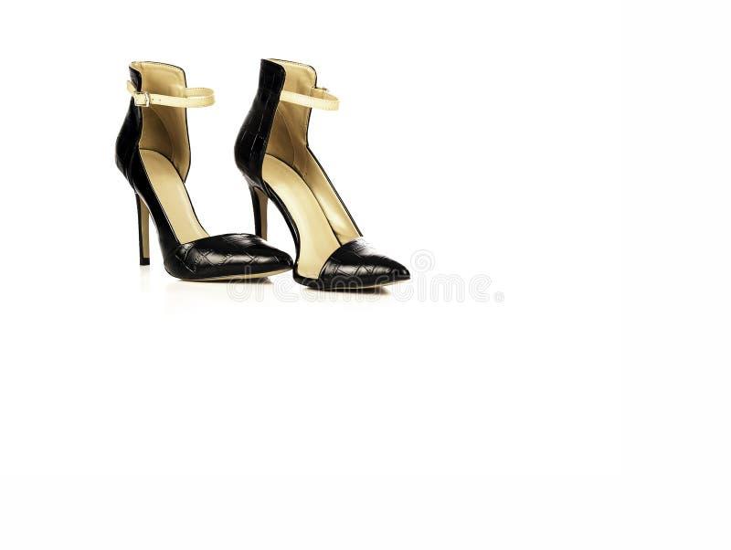 黑皮革高跟鞋妇女鞋子 图库摄影