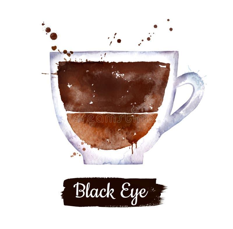 黑眼圈咖啡的水彩例证 库存例证