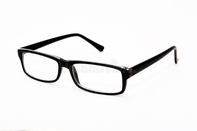 黑眼睛玻璃在白色背景 时髦的设置 免版税图库摄影