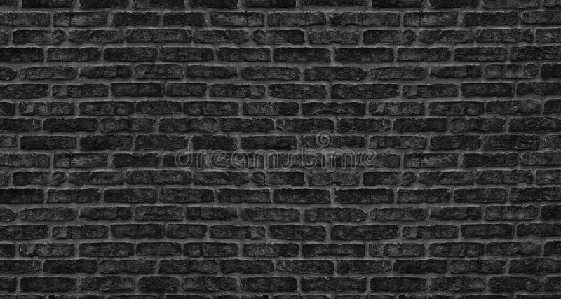 黑砖墙纹理 粗砺的砖砌 黑暗的难看的东西背景 免版税库存照片