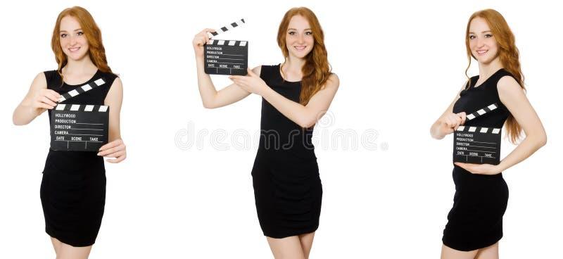 黑礼服藏品拍板板的年轻女人 库存图片