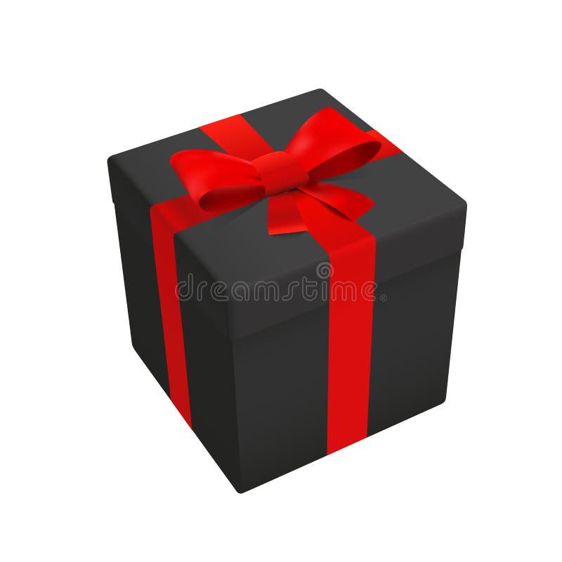 黑礼物组装箱子上面传染媒介例证 库存例证