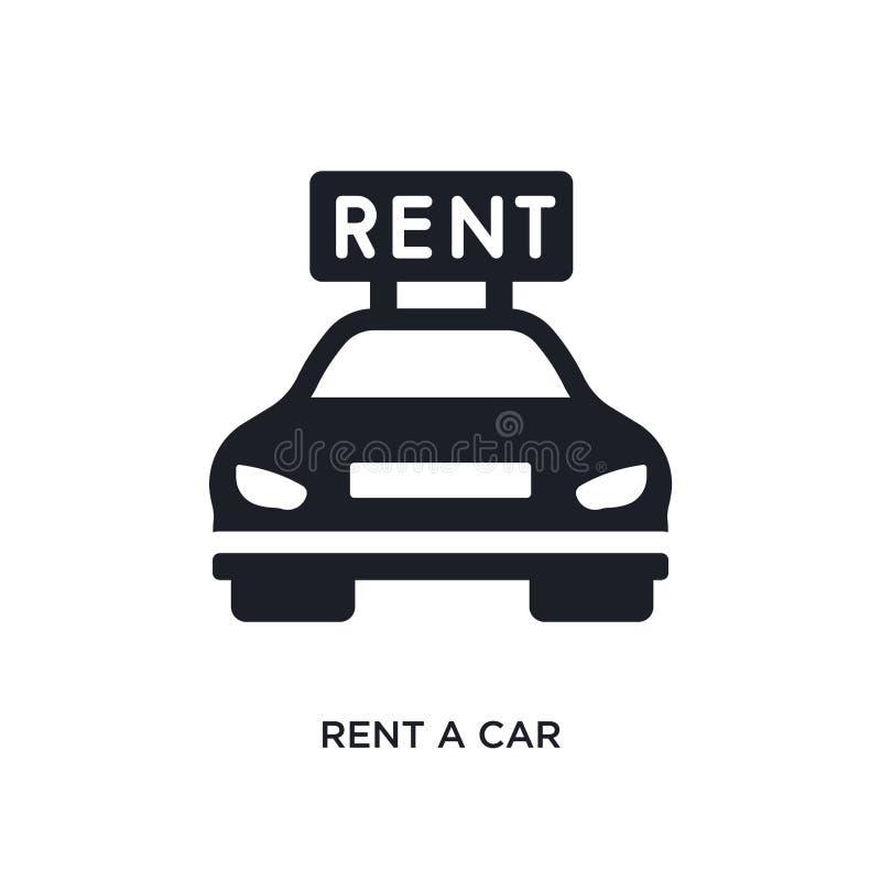 黑租汽车被隔绝的传染媒介象 从旅馆和餐馆概念传染媒介象的简单的元素例证 租用一辆汽车 向量例证