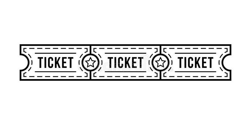黑稀薄的线与星的票小条 向量例证