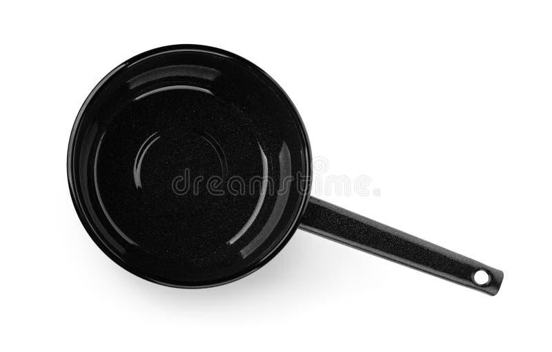 黑空的平底深锅顶视图  免版税图库摄影
