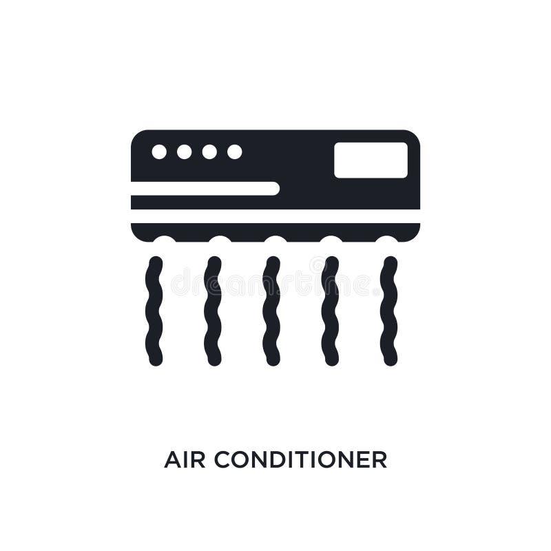 黑空调被隔绝的传染媒介象 从旅馆概念传染媒介象的简单的元素例证 编辑可能的空调 向量例证