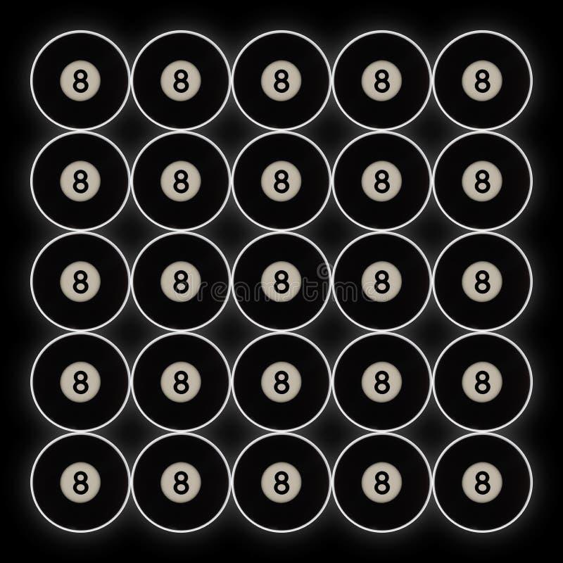 20黑第8水池球栅格在黑背景的 库存照片