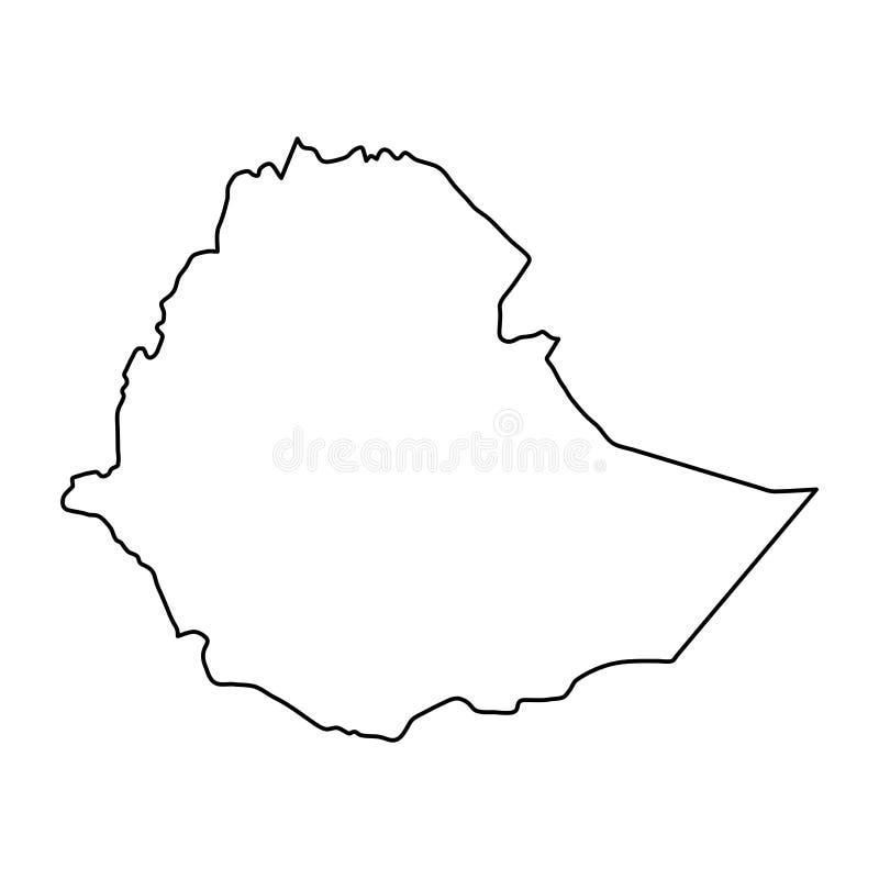 黑等高埃塞俄比亚地图在vect白色背景弯曲  向量例证